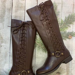 Real Leather tall brown lace up boots NEW size 6